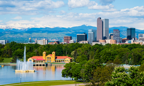 Denver, Colorado skyline with City Park in the foreground